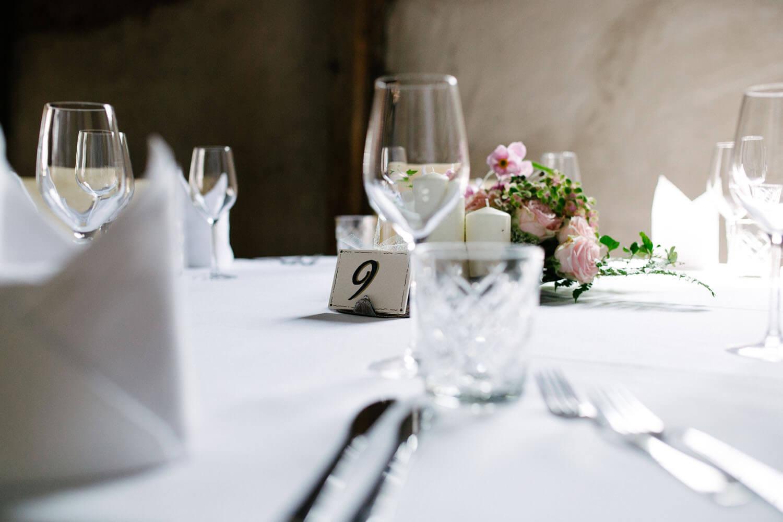 Tischdekoration auf der Location.