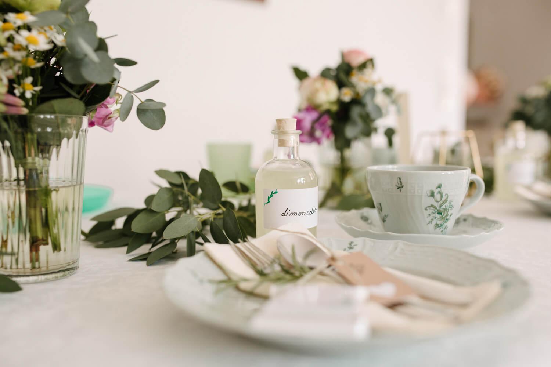 Tischdekoration mit Eukalyptus. Hochzeit Standesamt Osnabrück
